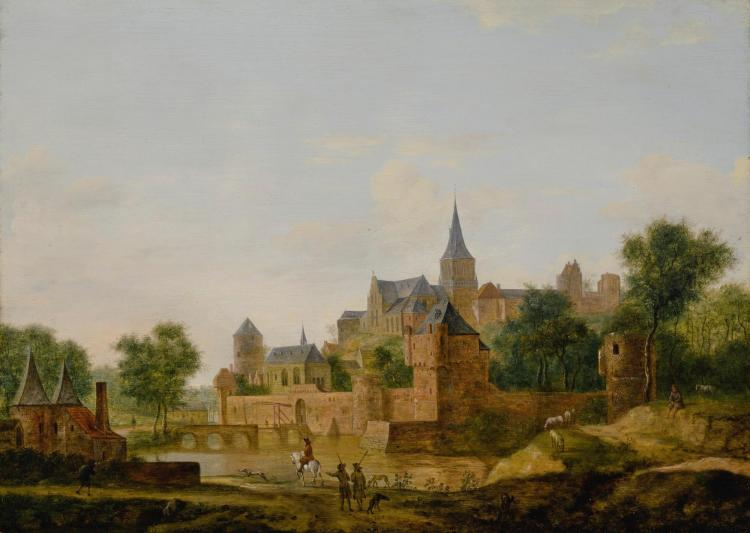 FOLLOWER OF JAN VAN DER HEYDEN | A view of an old fortified town with figuresreturning from a hunt