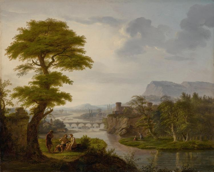 FRANÇOIS NICOLAS DUPUIS | A river landscape with scenes from Daphnis and Chloe