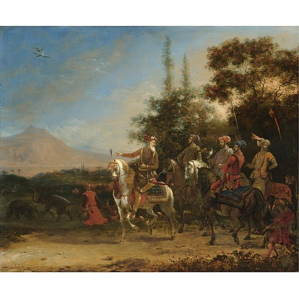 l - Willem Schellinks Amsterdam 1623 - 1678 , A hawking party, an extensive landscape beyond oil on canvas
