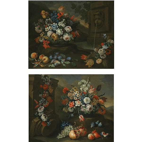 Bartolomeo Bimbi Settignano, Florence 1648 - 1730 Florence , a still life of tulips, roses and other flowers in a porcelain vase, with peaches, plums and another bunch of flowers near a fountain in a park landscape; a still life of tulips, daffodils,
