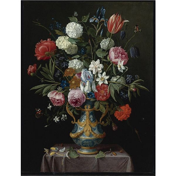 f,s - Jan van Kessel the Elder Antwerp 1626 - 1679 , Still Life of Irises, Peonies, Narcissi, a Tulip and other Flowers in a blue-and-white porcelain vase with ormolu mounts on a draped pedestal oil on copper