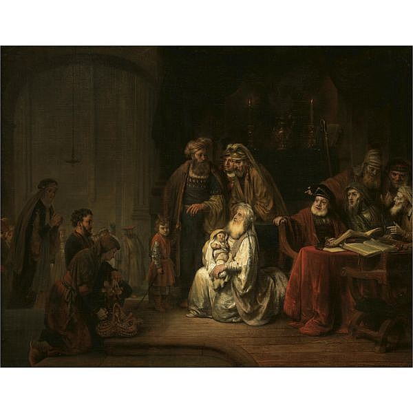 Gerbrand van den Eeckhout Amsterdam 1621 - 1674 , Simeon in the temple, 'Nunc dimittis' oil on canvas