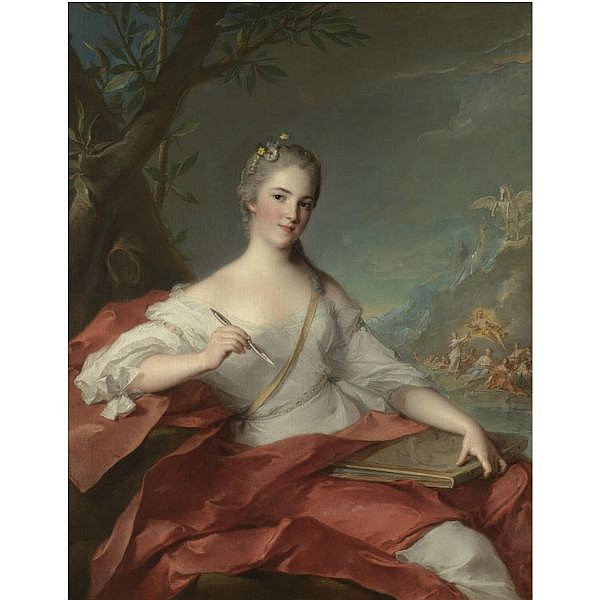 l - Jean-Marc Nattier Paris 1685 - 1766 , Portrait of Marie-Geneviève Boudrey, represented as a muse oil on canvas