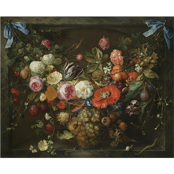 Jan Davidsz. De Heem Utrecht 1606 - 1683/4 Antwerp , a festoon of fruit and flowers in a marble niche oil on canvas