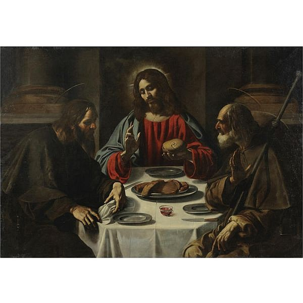 Rutilio Manetti Siena 1571 - 1639 , The Supper at Emmaus oil on canvas