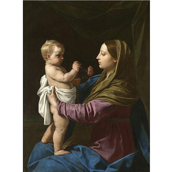 Simone Cantarini, called il Pesarese Pesaro 1612 - 1648 Verona , The Madonna and Child holding a rosary crucifix and a rose ('Madonna della Rosa') oil on canvas