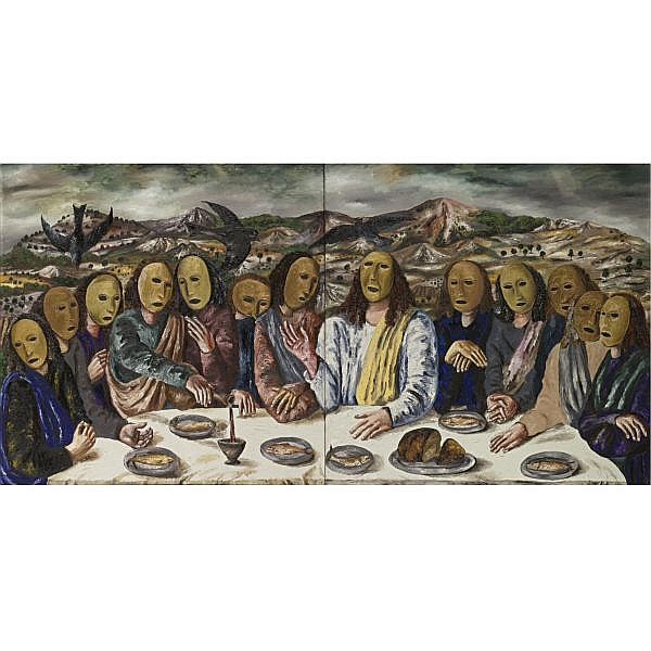 Natalia Nesterova , Russian b.1944 Last Supper, 1990 oil on two canvases