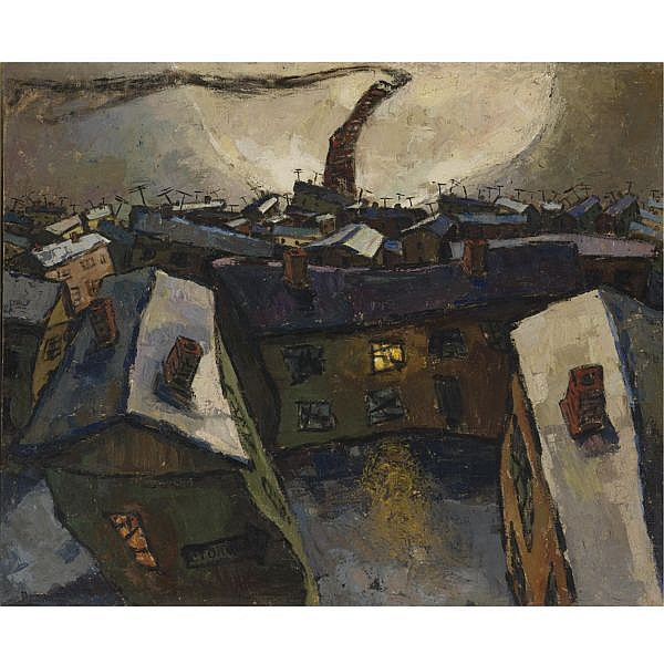 Oscar Rabin , Russian b.1928 City with Moon (Socialist City), 1959 oil on canvas