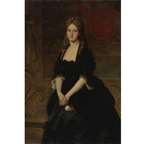 Michele Gordigiani , Italian (Firenze 1835 - 1909) Portrait of Nadezhda Mikhailovna Polovtsova, 1869 oil on canvas