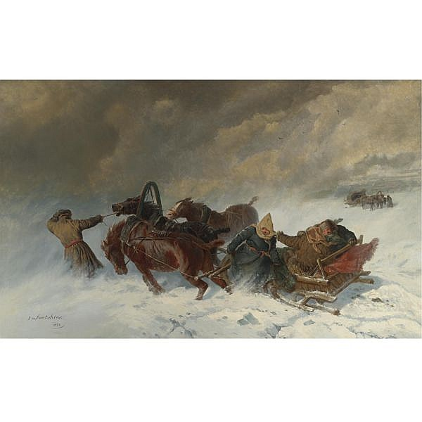 Nikolai Egorovich Sverchkov , Russian 1817-1898 Into the Blizzard, 1873 oil on canvas