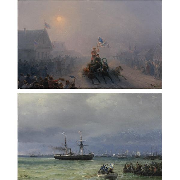 Ivan Konstantinovich Aivazovsky , Russian 1817-1900 Distributing Supplies and The Relief Ship: A Pair, 1892 oil on canvas