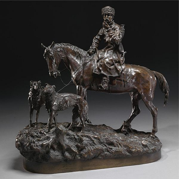 vasili grachev (1831-1905), a bronze group of a mounted cossack with hounds