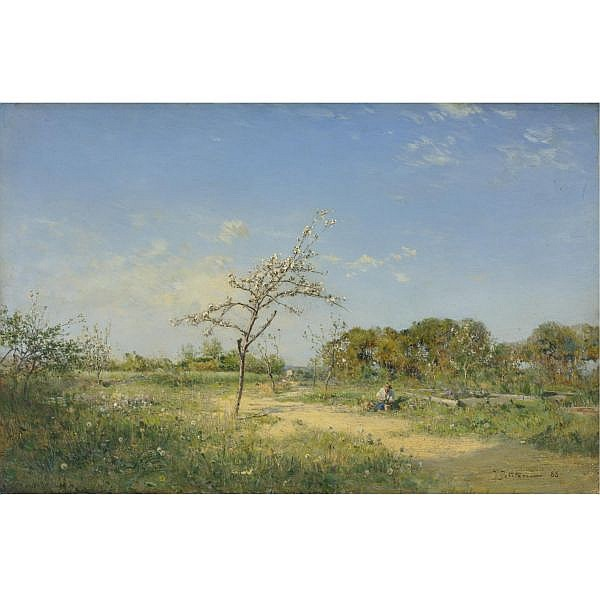 Ivan Pavlovich Pokhitonov , Russian 1850-1923 Spring, 1888 oil on panel