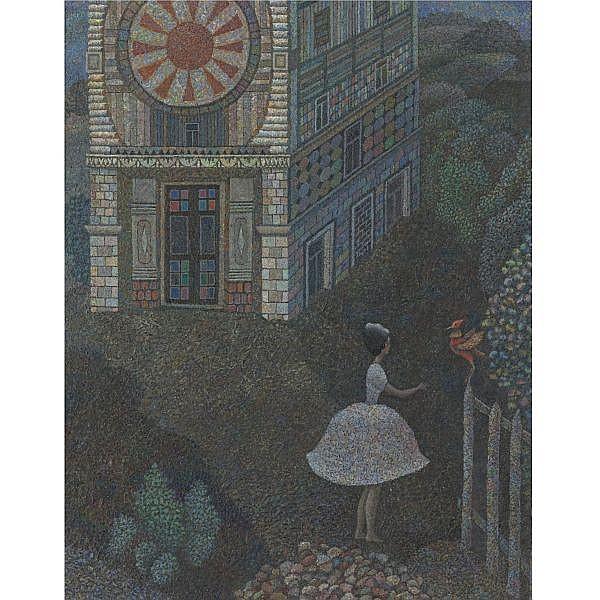 Alexander Kharitonov , Russian 1932-1993 Young Woman and a Bird, 1966 oil on canvas