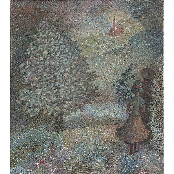 Alexander Kharitonov , Russian 1932-1993 Faith from the SORCERESS series, 1965 oil on canvas