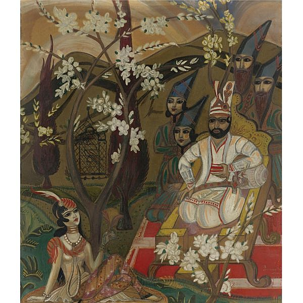 Sergei Soudeikine , Russian 1883-1946 Oriental Scene , circa 1923 mixed media on paper laid down on board