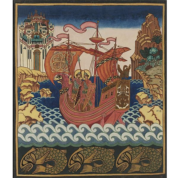Ivan Yakovlevich Bilibin , Russian 1876-1942 Sts. Boris and Gleb in a Boat watercolor on paper