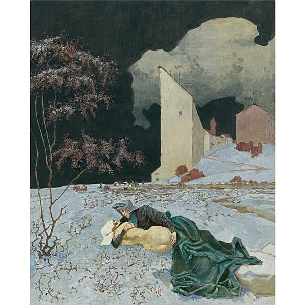 Boris Sveshnikov , Russian 1927-1998 Love in Winter, circa early 1950s oil on canvas