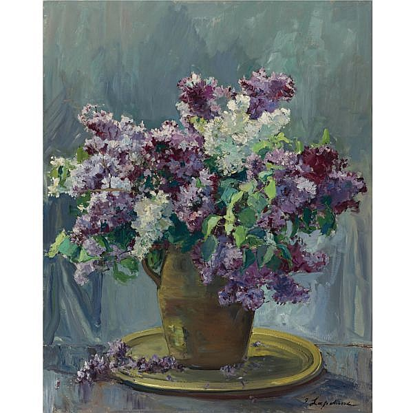 Georgy Alexandrovich Lapchine , Russian 1885-1950 Vase of Lilacs oil on canvas