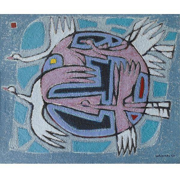 Kim Whanki , 1913-1974   Les Oiseaux Volants (Flying Birds) oil on canvas