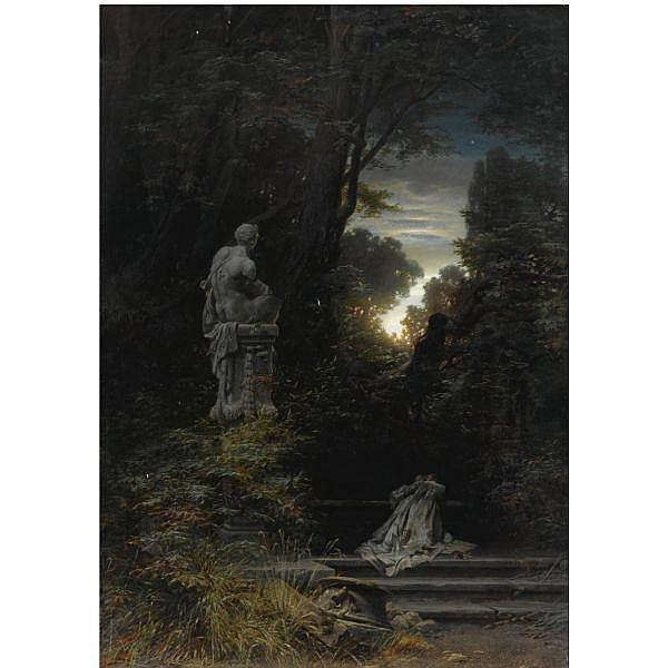 Ferdinand Knab German, 1834-1902 , a woman at a fountain with rising moon oil on canvas