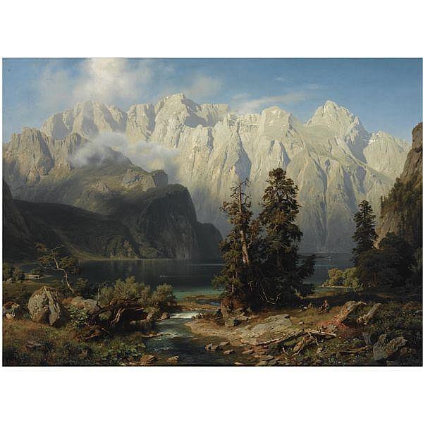 August Wilhelm Leu German, 1819-1897 , Mountainous landscape oil on canvas