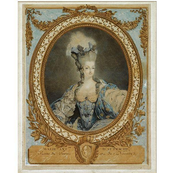 Jean-François Janinet 1752-1814 , A portrait of Marie Antoinette (1755-1793), standing half length, in a decorative, oval frame colour print on two sheets of paper