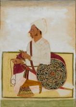 A RATHOR NOBLEMAN SEATED ON A CARPET WITH AN ELABORATELY DECORATED SHIELD, INDIA, RAJASTHAN, MEWAR, 18TH CENTURY |