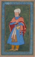 A PORTRAIT OF A COURTIER LEANING ON A STAFF, INDIA, MUGHAL, LATE 16TH CENTURY |