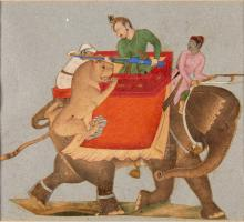 A LION ATTACK, CUT FROM A LARGER COMPOSITION, INDIA, MUGHAL, CIRCA 18TH CENTURY |
