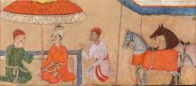 PRINCE WITH ATTENDANTS AND HORSE, INDIA, LATE SULTANATE OR EARLY MUGHAL, 15TH/16TH CENTURY |