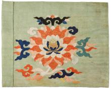A CHINESE KESI WOVEN SILK AND METAL-THREAD FLORAL FRAGMENT, LATE 17TH CENTURY |