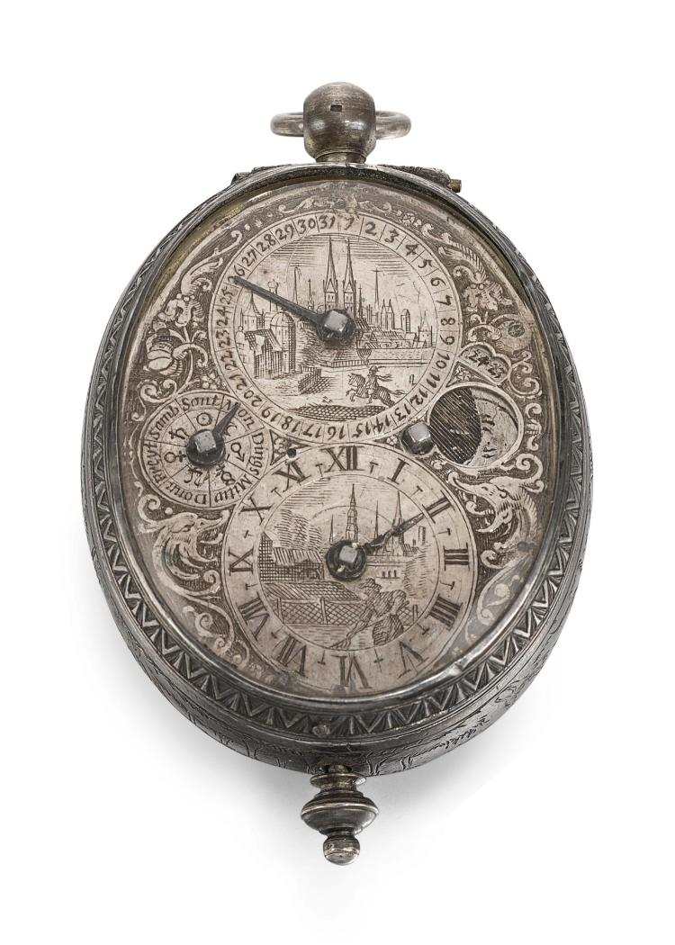 FRIDERICH HUBNER | AN EARLY SILVER OVAL CALENDAR VERGE WATCH WITH MOON-PHASES CIRCA 1640