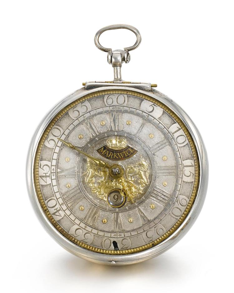 MARKWICK | A SILVER VERGE WATCH WITH DATE AND GLAZED SIDES TO THE MOVEMENT NO 3407 CIRCA 1710