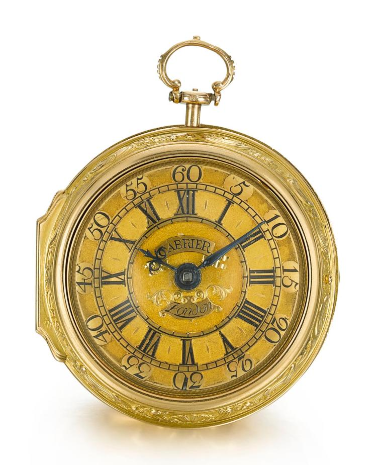 CABRIER | A YELLOW GOLD PAIR CASED VERGE WATCH WITH REPOUSSE SCENE NO. 5501 CIRCA 1748