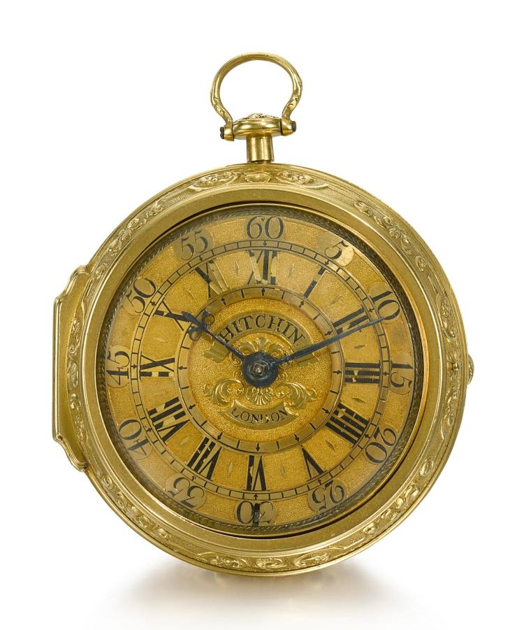 HITCHIN | A GOLD PAIR CASED REPOUSSE VERGE WATCH NO 943 CIRCA 1750