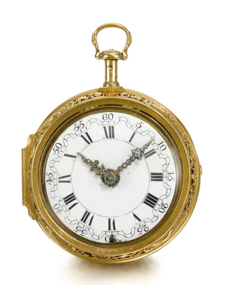 HUBERT | A GOLD QUARTER REPEATING REPOUSSE VERGE WATCH NO 505 CIRCA 1730