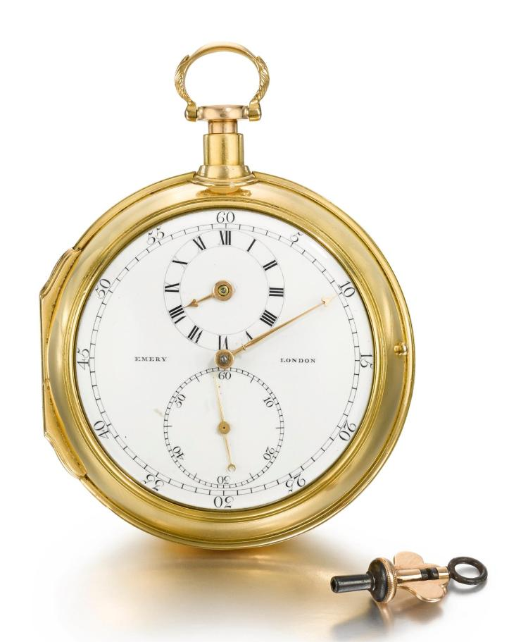 JOSIAH EMERY | A GOLD CONSULAR CASED REPEATING LEVER WATCH WITH STOP SLIDE AND REGULATOR DIAL NO 1125 CIRCA 1788