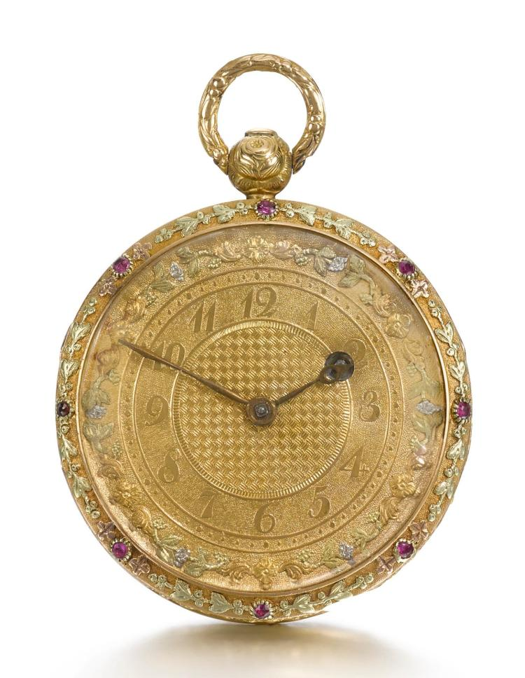 H. SMITH | A VARI-COLOUR GOLD AND RUBY SET WATCH CIRCA 1820