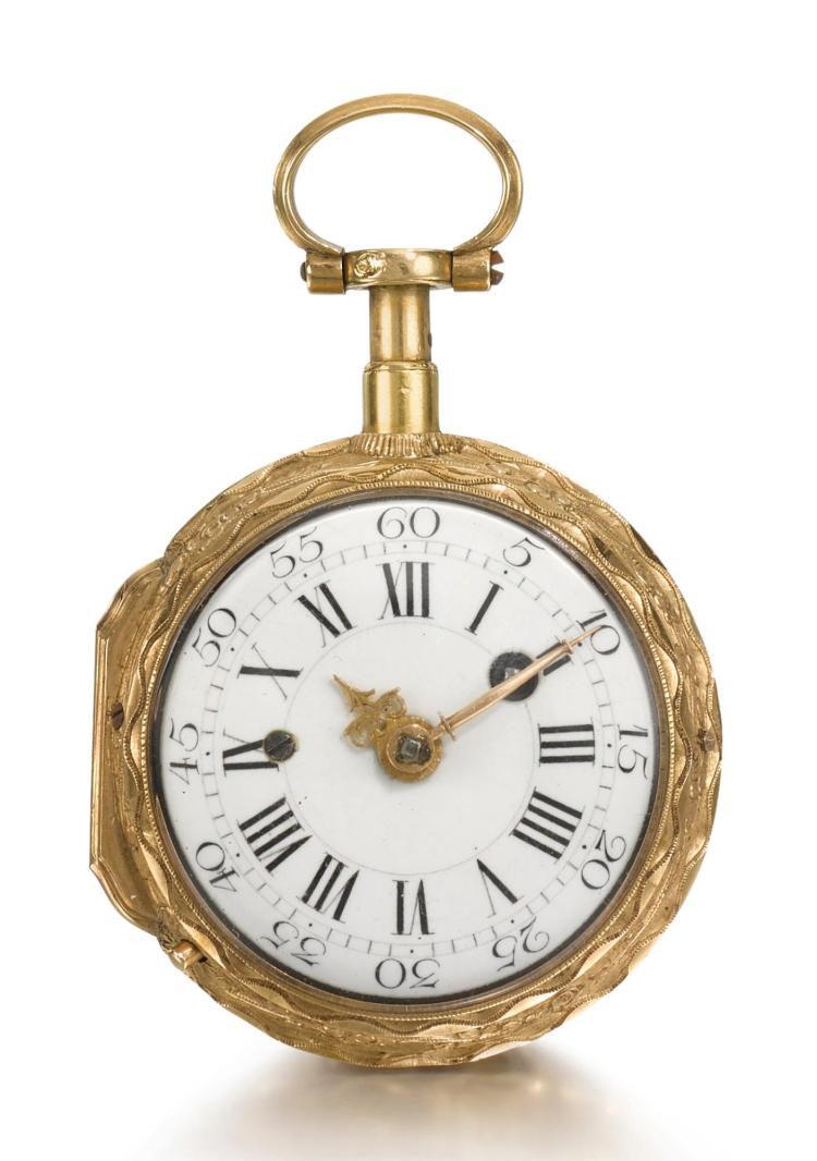 ROMILLY, PARIS   A GOLD AND ENAMEL QUARTER REPEATING A TOC WATCH CIRCA 1780