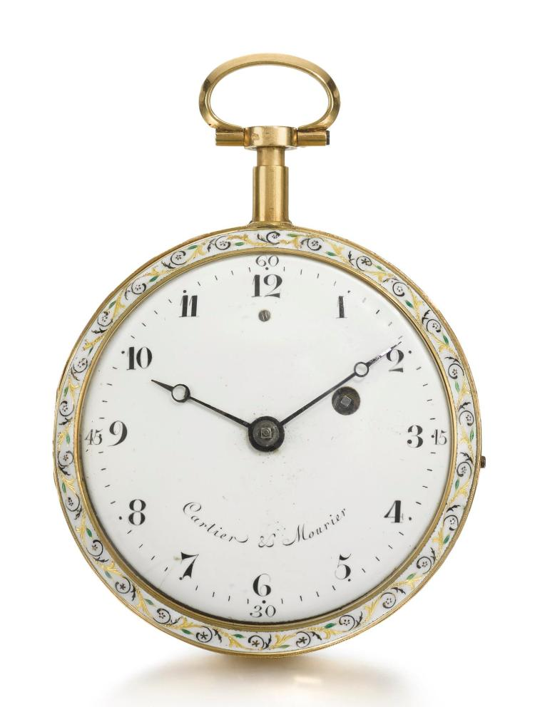 CARTIER & MOURIER | A GOLD AND ENAMEL QUARTER REPEATING VERGE WATCH CIRCA 1770