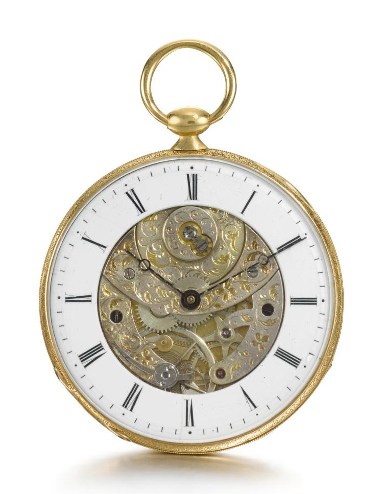 LEBET & FILS | A GOLD ULTRA SLIM OPEN-FACED WATCH WITH SKELETONISED DIAL CIRCA 1850