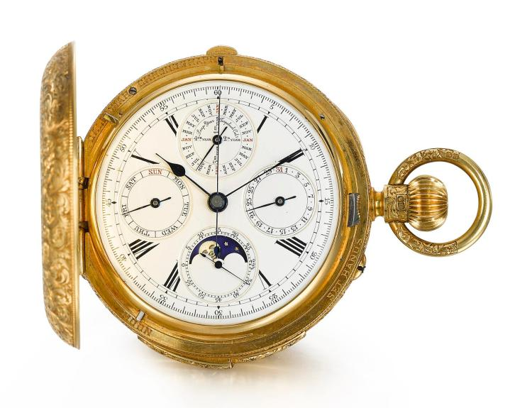 FRENCH, LONDON | A YELLOW GOLD HUNTING CASED MINUTE REPEATING PERPETUAL CALENDAR KEYLESS CHRONOGRAPH WATCH WITH MOON-PHASES 1884