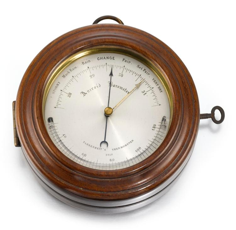 DENT | RETAILED BY DIXEY: A BRASS TIMEPIECE BY DENTAND A BAROMETER, WITH FITTED MAHOGANY CASES NO 2714/8958 CIRCA 1880