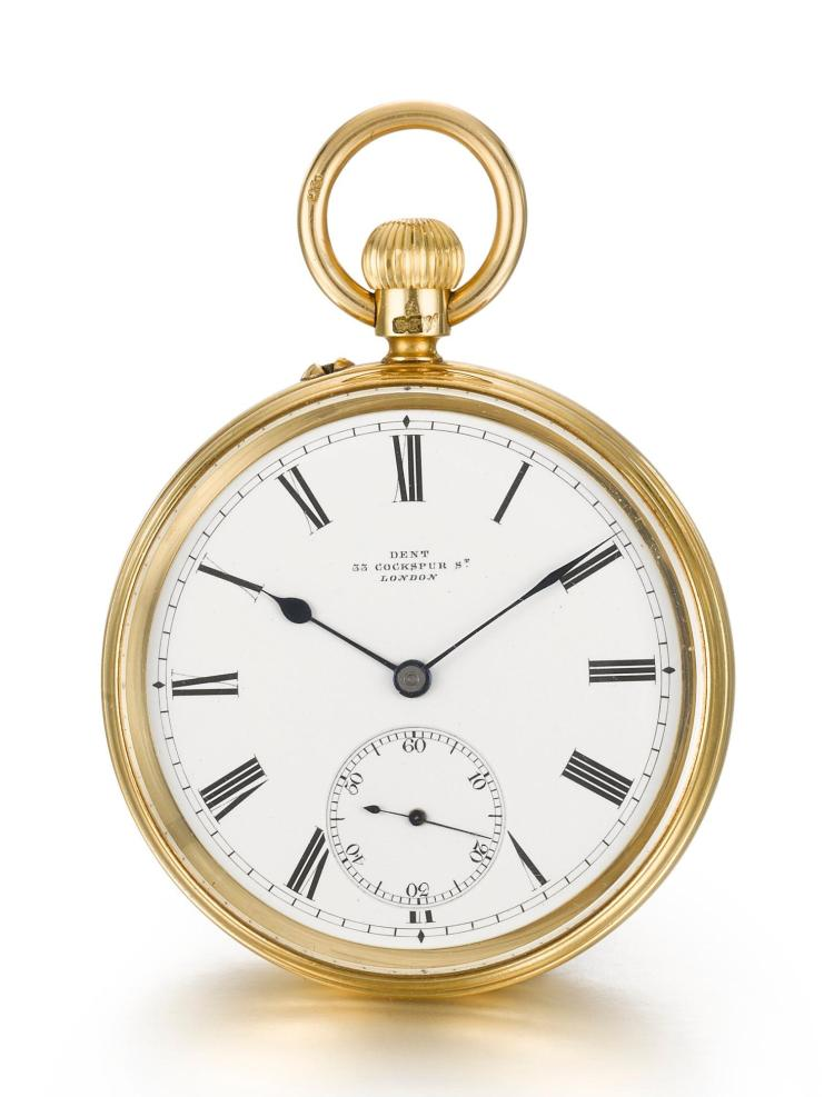 DENT | A YELLOW GOLD OPEN-FACED KEYLESS WATCH WITH FISHTAIL LEVER ESCAPEMENT NO. 30742 CIRCA 1890
