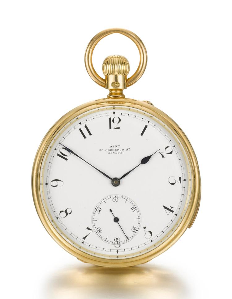 DENT | A YELLOW GOLD OPEN-FACED KEYLESS LEVER QUARTER REPEATING WATCH NO 31031 CIRCA 1892