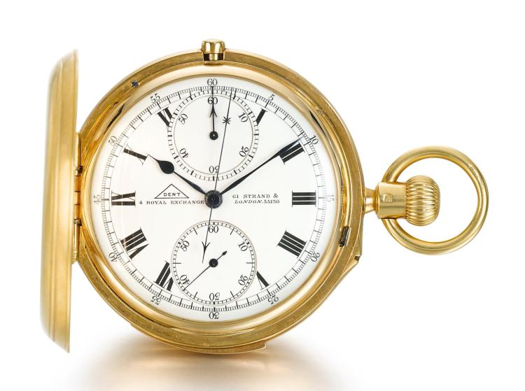 DENT | A YELLOW GOLD HUNTING CASED MINUTE REPEATING CHRONOGRAPH KEYLESS WATCH WITH REGISTER NO 55130 CIRCA 1905
