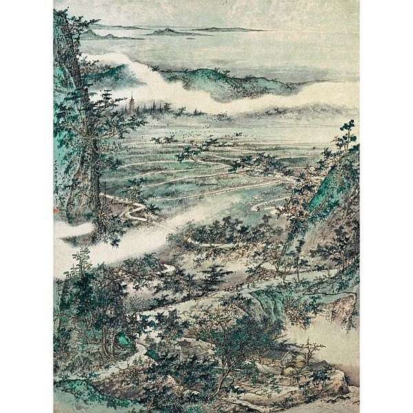Tao Yiqing 1914-1986 , RURAL SCENERY ink and colour on paper, hanging scroll