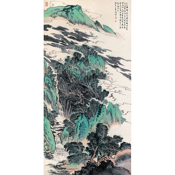 Lu Yanshao 1909-1993 , LANDSCAPE OF MOUNT TIANTAI ink and colour on paper, hanging scroll