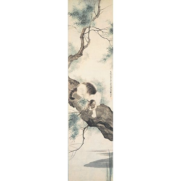 Liu Kuiling 1885-1968 , VARIOUS ANIMALS ink and colour on paper, set of six, hanging scroll